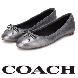 COACH flatiron metallic gunmetal gray flats shoes